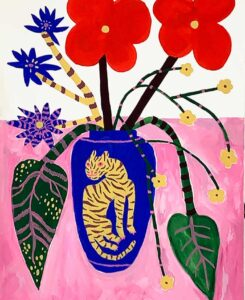Nice tiger with flowers